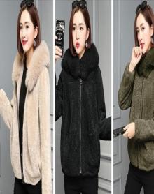 仿羊剪绒大衣女2018冬新款皮毛一体仿狐狸毛皮草外套