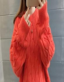 2018冬季女装宽松套头衫加厚圆领麻花针织衫短款潮学生外套毛衣女
