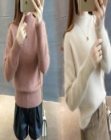 毛衣女秋冬短款韩版宽松套头纯色半高领螺纹针织打底衫厚毛线衣潮