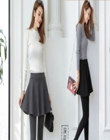 2018冬季新款 加厚加绒打底裤 外穿加绒假两件裙裤女裤 外穿加绒打底裤女 加绒连裤女裙子