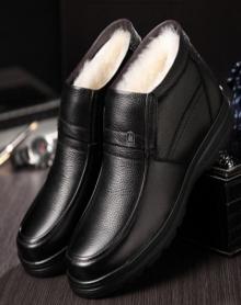 棉皮鞋中老年人爸爸鞋老人休闲冬鞋雪地靴男靴棉靴