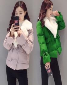 【加厚保暖】大毛领棉衣女短款2017新款韩版显瘦羽绒棉服冬季小棉袄羊羔毛领加厚外套