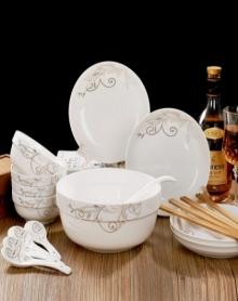 4碗4盘4勺4筷子1大汤碗1大汤勺碗碟套装景德镇陶瓷餐具家用盘子简约中式米饭碗瓷器