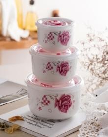 陶瓷保鲜碗盒三件套装饭盒便当盒餐具密封盒子微波炉专用碗带盖