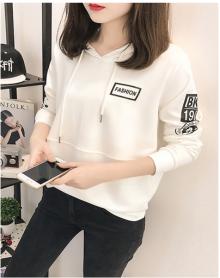 2018秋季女装韩版新款长袖加绒连帽卫衣女宽松百搭薄款外套女