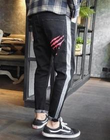 冬季新款小脚牛仔裤男士青少年加绒加厚韩版潮流拼接哈伦裤修身弹力黑色长裤子
