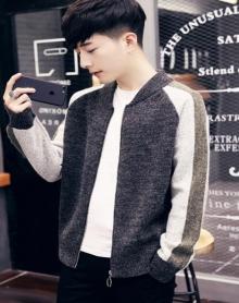 男士外套开衫外套秋季棒球服学生韩版潮流帅气春秋男夹克针织衣服