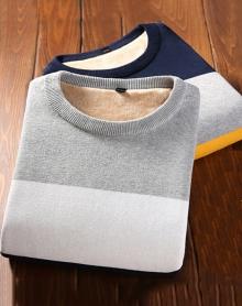 男士毛衣圆领冬季加绒加厚韩版修身条纹线衣青年保暖毛衫上衣服