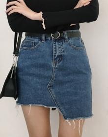 不规则高腰牛仔半身包臀裙
