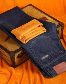秋冬款加绒牛仔裤男直筒冬季保暖加厚男士休闲青年牛仔长裤子男裤