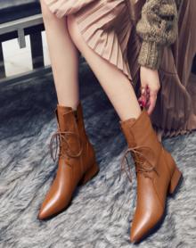【加绒大棉】欧美马丁靴女新款冬季系带尖头低跟靴子英伦风粗跟短靴