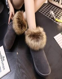 冬季加绒加厚棉鞋女毛毛鞋女厚底平底雪地靴冬天外穿靴子磨砂女鞋短靴棉靴御寒女鞋