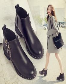 新款短靴女春冬单靴侧拉链高跟马丁靴女圆头粗跟女靴韩版靴子