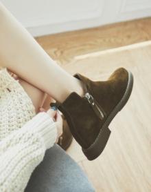 短靴女粗跟韩版百搭复古春秋冬季磨砂靴子马丁靴英伦风