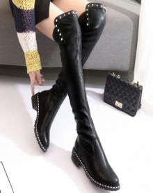 过膝长靴铆钉长筒靴子女潮新款平底百搭粗跟显瘦高筒弹力女靴