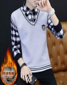 2017秋冬季男士假两件毛衣男卫衣韩版衬衫领打底线衫男装带领撞色T恤
