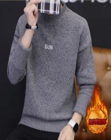 2017新款男士长袖t恤男韩版潮流高领纯色毛衣男日系休闲打底衫线衣男装