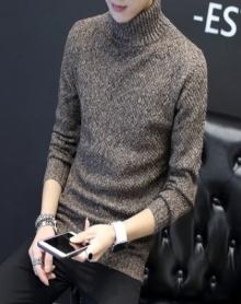 加绒高领毛衣男士韩版高领针织衫长袖T恤男上衣服修身打底衫潮流