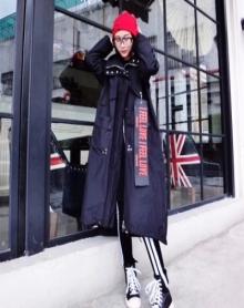 秋冬新款潮牌欧洲站个性潮范大气字母飘带吊牌拉链风衣外套