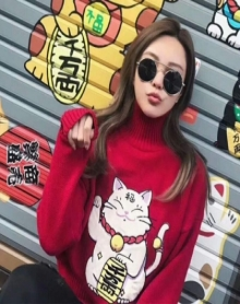 韩版百搭短款显瘦可爱少女心招财猫套头高领红色情侣毛衣女冬