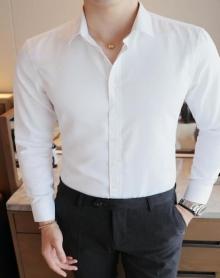 长袖衬衫男秋季商务修身长袖工装打底白衬衫男士职业正装衬衣寸