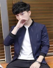 2018年早春新款韩版男士纯色几何时尚棒球领夹克外套潮春秋男学生