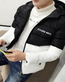 大码冬季新款连帽撞色修身简约潮流基础款百搭韩版棉衣男士外套