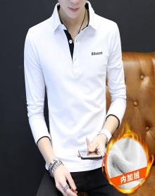 冬季韩版加绒加厚保暖衬衫领打底衫修身型百搭纯棉长袖t恤个性青年POLO衫中年翻领白色男士小衫