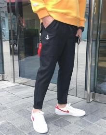 夏新款刺绣秋季男士休闲裤男裤子男韩版潮流小脚裤收口裤男哈伦裤男长裤子男