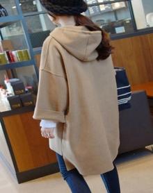 新韩版休闲宽松中长款连帽长袖毛呢外套卫衣女上衣