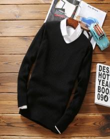 秋冬季新款韩版男士V领纯色套头针织衫百搭修身潮流内搭打底衫