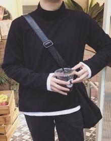 冬装新品长袖T恤男潮青年半高领韩版修身百搭纯色打底衫