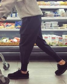 裤子男冬季加绒加厚韩版哈伦裤学生束脚裤宽松小脚裤简约休闲裤
