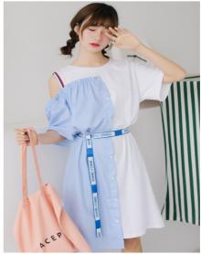 2018新品 独立设计制作 优雅气质风 宽肩设计中长OP裙