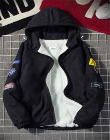 MOMO 冬季保暖外套男加绒加厚外套韩版bf风宽松羊羔毛夹克 价格:
