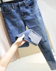 高腰弹力显瘦破洞毛边牛仔裤翻边九分小脚铅笔裤女长裤