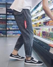 韩版冬季男士纯色灯芯绒哈伦裤休闲裤宽松长裤简约百搭男裤子潮流
