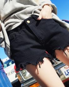 高腰牛仔短裤女学生热裤宽松显瘦阔腿裤子潮