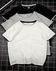 夏季新款男士t恤短袖潮男修身圆领假两件全棉汗布短袖T恤短袖男