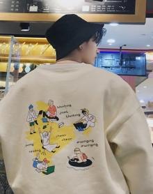冬季新款男士印花卫衣韩版潮流加绒运动外套青年圆领套头宽松上衣