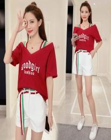 2018夏季新款时尚韩版休闲露肩字母T恤+白色短裤两件套装女潮