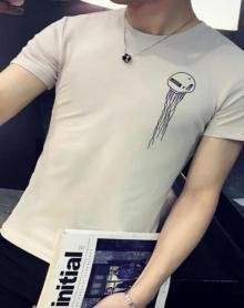 2018男士纯棉圆领纯色半截袖短袖体恤衫纯色印花体恤韩版潮流打底衫上衣服