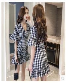 欣迈 2018夏装新款文艺T恤连衣裙套装两件套【1858927E05765】 牛仔蓝 L