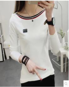 MOKO2018春季新品复古条纹短袖图案印花圆领T恤MA181TEE209 摩按珂 蓝白条色 S