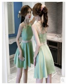 呋钕纺雪纺印花裙夏季2018新款韩版时尚女装收腰显瘦荷叶领蕾丝喇叭气质袖连衣裙 两色