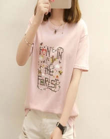 2018新款夏装宽松白色短袖t恤女韩版百搭体恤学生夏季半袖上衣服